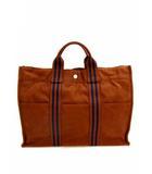 エルメス HERMES トートバッグ ハンドバッグ フールトゥMM キャンバス ブラウン ネイビー 茶 紺 カバン 鞄