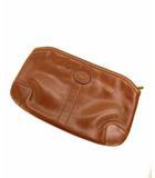 ダックス DAKS クラッチバッグ セカンドバッグ 鞄 カバン ロゴ型押し ブラウン 茶 レザー