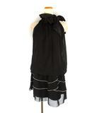 コムサイズム COMME CA ISM ネックリボン ドッキング ドレス ワンピース パイピング ティアードスカート ノースリーブ ブラック 黒 S