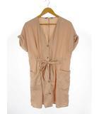 ザラ ZARA フロントボタン ドロスト切替 ロングシャツ コート ワンピース 2way ノーカラー 羽織り 半袖 ピンク S