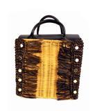 ラウゴア Laugoa カゴバッグ ハンドバッグ 切り替え 鞄 カバン ベージュ ブラウン ブラック タグ付き