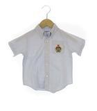 ミキハウス mikihouse エンブレム 刺繍 ボタンダウン 半袖 シャツ ライトブルー 95 ベビー 子供服