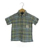 ラルフローレン RALPH LAUREN チェック コットン シャツ ボタンダウン 半袖 ブルー系 90