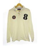 トミーヒルフィガー TOMMY HILFIGER 二枚襟 ラガーシャツ ポロシャツ ワッペン 8 ナンバー 刺繍 プリント 長袖 アイボリー  L