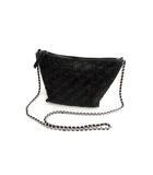 ザラ ZARA 本革 編み込み スエード チェーン ショルダーバッグ ポシェット メッシュ レザー スウェード 鞄 かばん ブラック 黒
