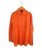 ポールスミス PAUL SMITH トップス ワイシャツ コットン100% 長袖 無地 オレンジ 橙 M