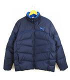 プーマ PUMA ダウンジャケット 上着 アウター ジップアップ ロゴ プリント ネイビー 紺 XL