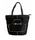パーソンズ PERSON'S トートバッグ ハンドバッグ 刺繍 ロゴ カバン 鞄 白ステッチ 大容量 大きめ ブラック 黒