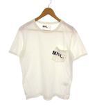 マーガレットハウエル MHL. 長袖 ポケット Tシャツ カットソー クルーネック ロゴ プリント 白 ホワイト サイズM