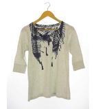 ロキシー ROXY だまし絵プリント Tシャツ カットソー トップス フェイクプリント 七分袖 ライトグレー M