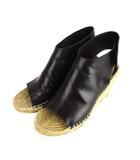 セリーヌ CELINE サンダル 靴 ウェッジソール レザー エスパドリーユ オープントゥ 黒 ブラック 39 ★AA☆