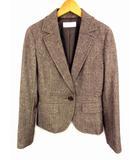 エニィスィス エニシス anySiS スカートスーツ セットアップ 上下セット スーツ ジャケット 膝丈スカート ウール ツイード ラメ ブラウン系 茶系 サイズ2 ストレッチ