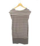 ギャルリーヴィー GALERIE VIE トゥモローランド ボーダー チュニック ワンピース プルオーバー Tシャツ フレンチスリーブ 半袖 綿 コットン グレー 1
