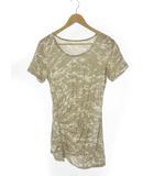 コムサ COMME CA ギャザー ジッパー カモフラ プリント チュニック Tシャツ 迷彩柄 半袖 カーキ ベージュ 9