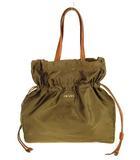 プラダ PRADA 巾着型 バッグ トートバッグ ナイロン レザー ジャガード BN1757 カーキ系 ブラウン