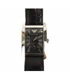 エンポリオアルマーニ EMPORIO ARMANI 腕時計 クォーツ スクエア アナログ AR-0143 レザーベルト 黒 ブラック シルバー