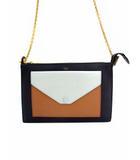 セリーヌ CELINE ショルダーバッグ レザー 革 チェーンショルダー 175083 黒 薄青 茶 ブラック ライトブルー ブラウン 鞄 カバン
