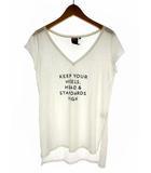 ダブルスタンダードクロージング ダブスタ DOUBLE STANDARD CLOTHING トップス Tシャツ カットソー フレンチスリーブ プリント ロゴ コットン ホワイト 白 36