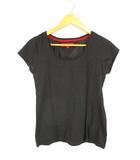トミーガール tommy girl ラメ混 Tシャツ カットソー トップス プルオーバー ラウンドネック 半袖 フレンチスリーブ ブラック 黒 S