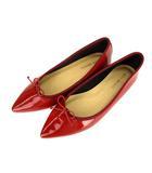 リヴドロワ RIVE DROITE フラット パンプス 靴 ポインテッドトゥ エナメル リボン 赤 レッド 38