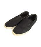 クラークス clarks スリッポン スニーカー シューズ 靴 メッシュ キャンバス 黒 ブラック 25.5cm