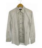 バーバリーブラックレーベル BURBERRY BLACK LABEL トップス シャツ ワイシャツ 長袖 シャーリング ロゴ 刺繍 ライトグレー系 2