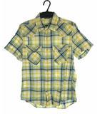 バックナンバー BACK NUMBER トップス ウエスタンシャツ 半袖 チェック柄 コットン 黄 ブルー M