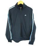 アディダス adidas スポーツウェア トラックジャケット 上着 ジャージ ジップアップ 3ストライプス ネイビー系 紺 水色 L