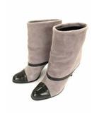 ダイアナ DIANA ショートブーツ ブーツ 折り返し スエード エナメル レザー ヒール グレー系 オリーブ 靴 サイズ24.5