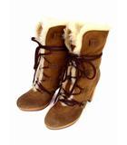 ダイアナ DIANA ムートン ブーツ ミドルブーツ レースアップ ヒール ブラウン系 茶系 サイズ24.5cm 靴