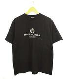 バレンシアガ BALENCIAGA トップス Tシャツ 半袖 クルーネック プリントロゴ 594579 TGV60 1000 黒 ブラック M 国内正規品 ★AA☆