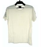 エンポリオアルマーニ EMPORIO ARMANI トップス Tシャツ カットソー 袖プリント ロゴ ラインストーン ストレッチ 半袖 オフホワイト 白 XL