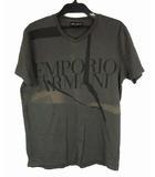 エンポリオアルマーニ EMPORIO ARMANI トップス Tシャツ カットソー コットン プリント ロゴ Vネック 半袖 チャコールグレー 灰 L