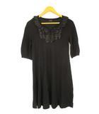 メルローズ MELROSE サテンフリル ニット ワンピース プルオーバー 五分袖 七分袖 キーネック 無地 ブラック 黒 ウール