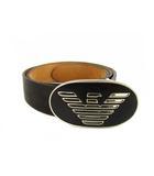 エンポリオアルマーニ EMPORIO ARMANI レザー ベルト ハトメ バックル ロゴ 5穴 黒 ベージュ