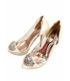 レディ Rady パンプス ヒール ビジュー 切替 エナメル クリア 白 ホワイト サイズS ST0132 靴