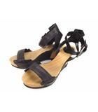ブッテロ BUTTERO サンダル ウッド レザー アンクルストラップ 靴 ウェッジソール ヒール 黒 ブラック ベージュ系 サイズ36