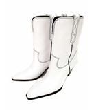 ザラ ZARA ザラ サープラス ZARA SRPLS ウエスタンブーツ ミドルブーツ ショートブーツ レザー ブーツ ウェッジソール ヒール 革 靴 白 ホワイト サイズ41