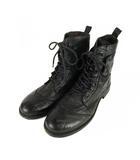 コムサメン COMME CA MEN レザー ブーツ レースアップ 靴 ショート 黒 ブラック 26cm