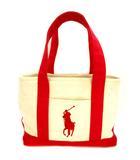 ポロ ラルフローレン POLO RALPH LAUREN トートバッグ ハンドバッグ バッグ キャンバス ビッグポニー 刺繍 鞄 カバン アイボリー 赤 レッド ☆AA★