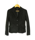 ベロア テーラード ジャケット スカート スーツ セットアップ 上下 2点 ひざ丈 2ボタン ポリエステル ブラック 黒 9