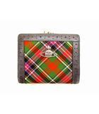 ヴィヴィアンウエストウッド Vivienne Westwood 二つ折り財布 コンパクトウォレット ミニ財布 がま口 キャンバス レザー チェック 切替 マルチカラー