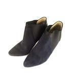ジミーチュウ JIMMY CHOO スウェード レザー ブーティ ショートブーツ 靴 サイドゴア ピンヒール 紺 ネイビー 37