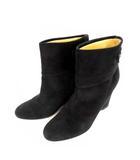 ペリーコ PELLICO ショートブーツ スエード レザー 革 靴 ウェッジソール ヒール 黒 ブラック サイズ38 イタリア製