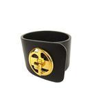 レザー バングル ブレスレット ダブルG ブラック ゴールドカラー アクセサリー