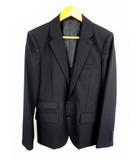 スーツ セットアップ 上下セット シングル 背抜き シャドーチェック ウール混 2ボタン 黒 ブラック サイズM 、38