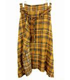 ツイードヘムラインスカート フレア スカート 09WFS182113 ウエストベルト ロング丈 ミモレ丈 イエロー ブラック ホワイト サイズ1
