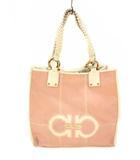 サルヴァトーレフェラガモ Salvatore Ferragamo トートバッグ ハンドバッグ バッグ キャンバス レザー 革 鞄 カバン ピンク 白 ホワイト