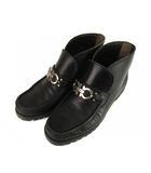 サルヴァトーレフェラガモ Salvatore Ferragamo ガンチーニ ショート ブーツ シューズ 靴 レザー 革 黒 ブラック 6D