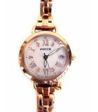 ウィッカ wicca 腕時計 ウォッチ アナログ 3針 日付 ソーラー電波 H0F8-R008676 ラインストーン チャーム ピンクゴールド シェル文字盤